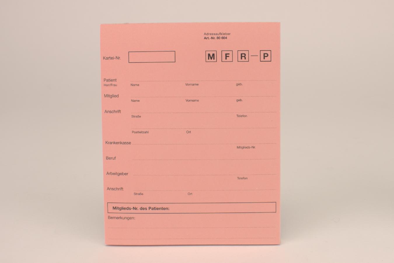 Anschriftblatt rosa A5 504 50 Stück