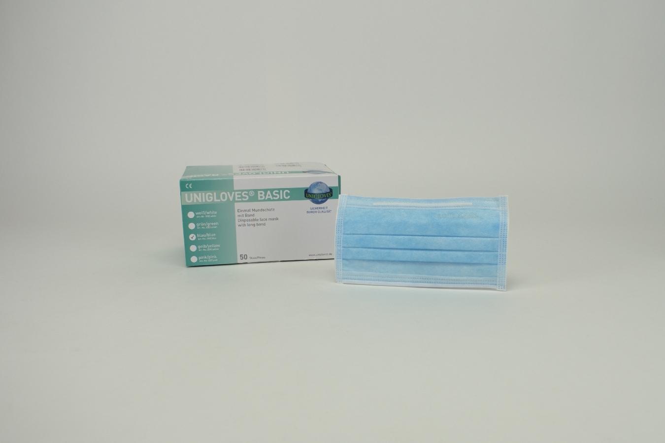 Mundschutz OP Basic blau Band  50 Stück