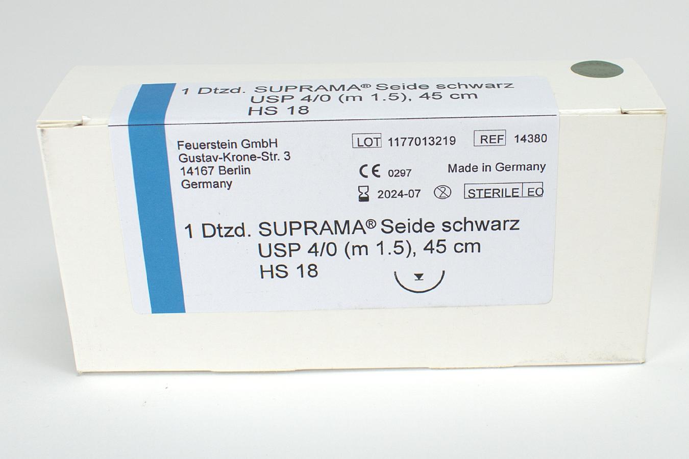 Suprama Seide schwarz HS18 4/0 Dtz