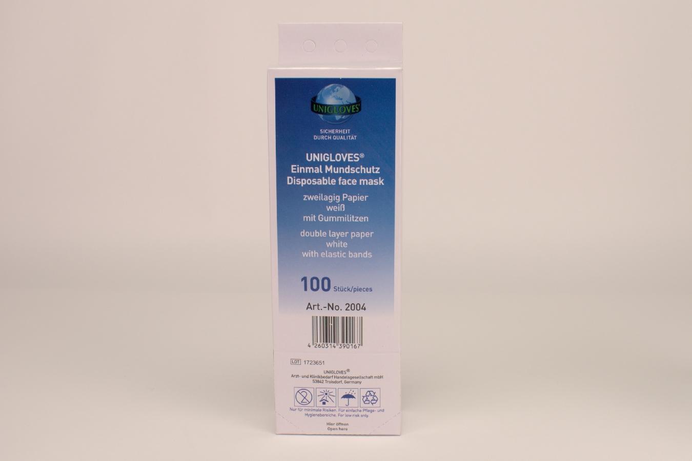 Mundschutz Einweg zweilagig 100 Stück