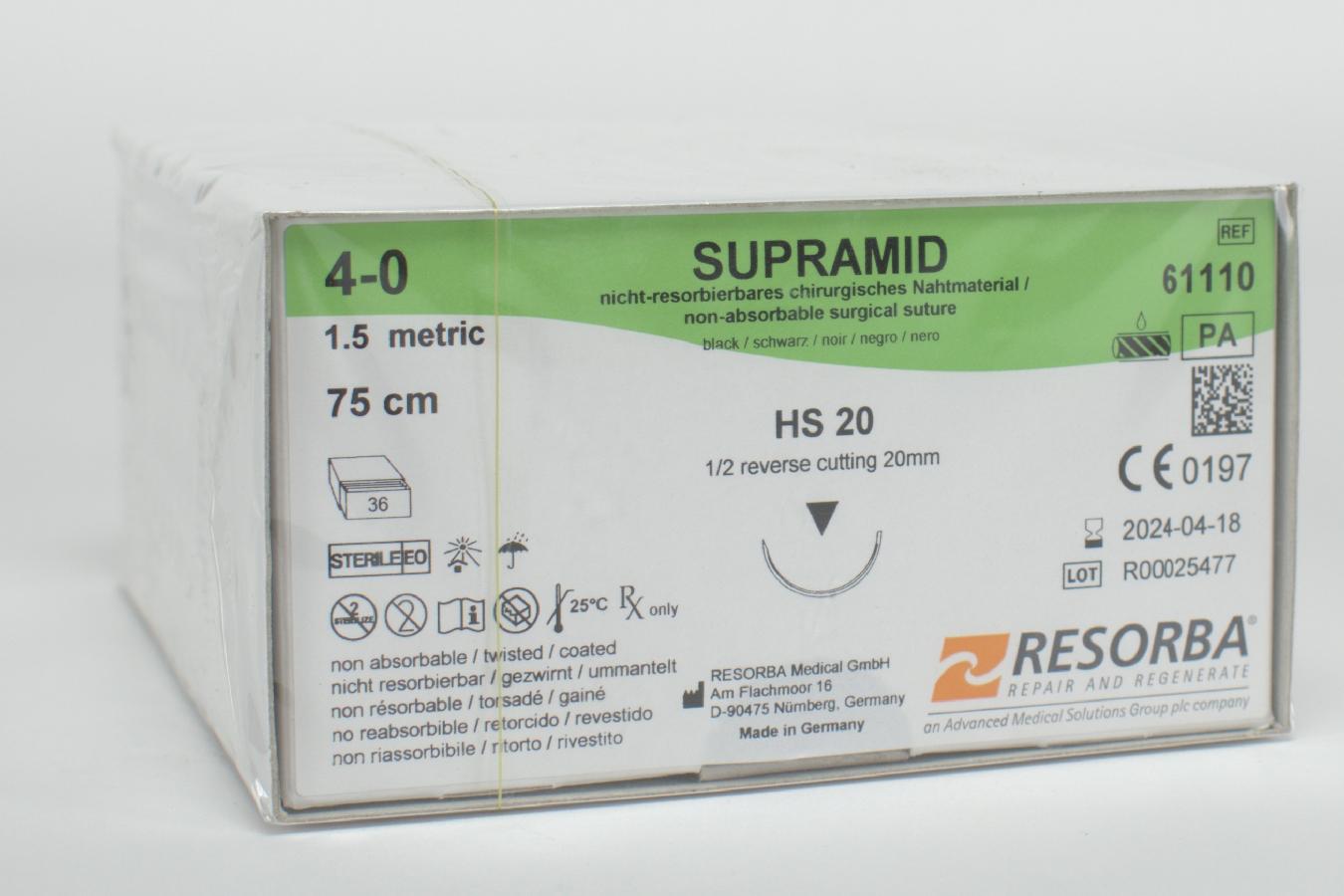 Supramid schwarz 4/0 HS20 75cm 3Dtz